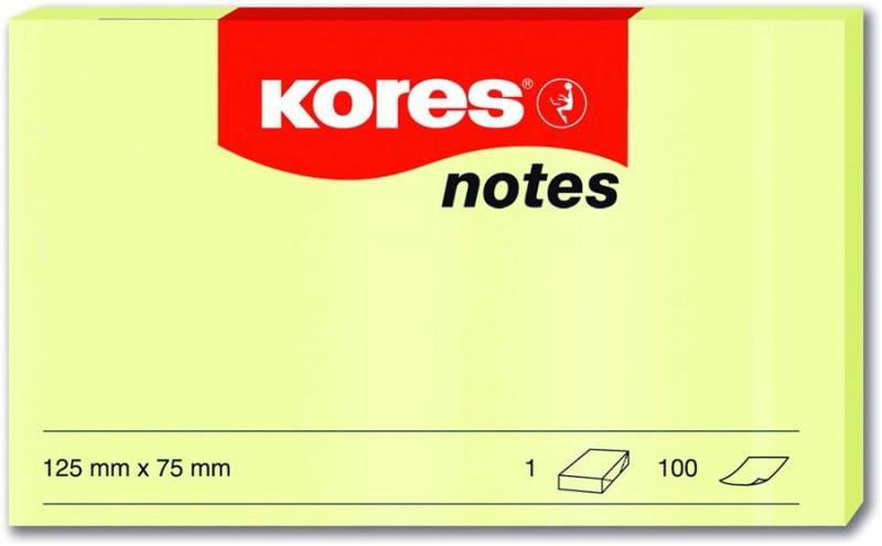 Notes Adeziv Galben Pal 100 File Kores, 75 x 75 mm