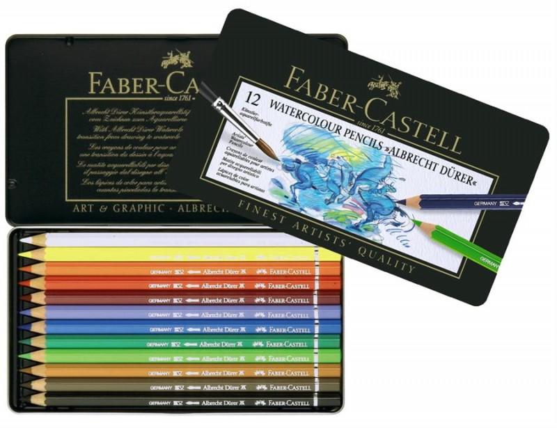 Creioane Colorate Acuarela A.Durer Faber-Castell , cutie din lemn 48 buc