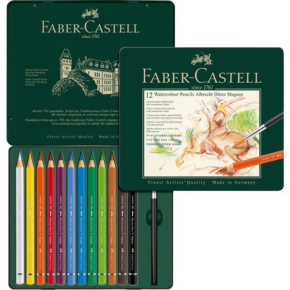 Creioane Colorate 12 Culori A.Durer Magnus Cutie Metal Faber-Castell