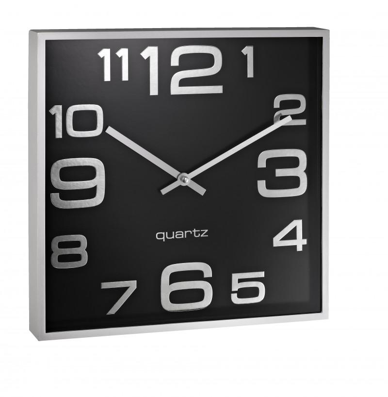 Ceas patrat de perete, dim.- 28.3 x 28.3cm, cifre arabe, ALCO - rama plastic argintie - dial negru