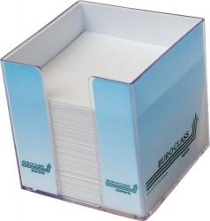Cub hartie alba 9x9x9cm, cu suport plastic BUR-O-CLASS AURORA