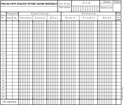 Fisa cont analitic pentru valori materiale, A4, tipar fata/verso, 150 g/mp