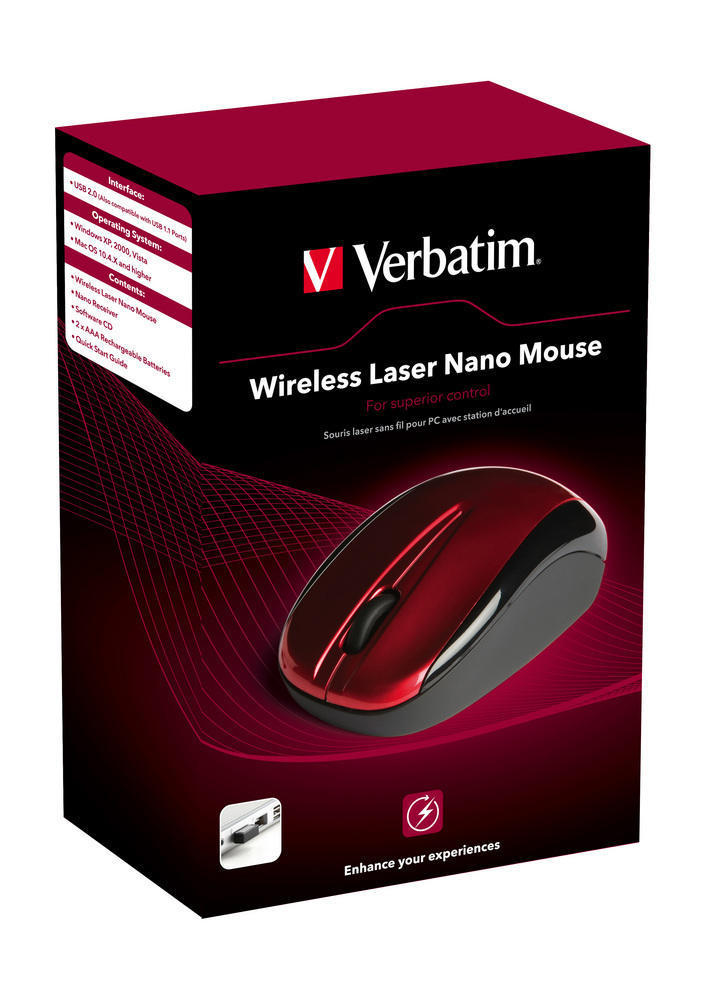 Mouse laser, wireless, rosu, VERBATIM Nano